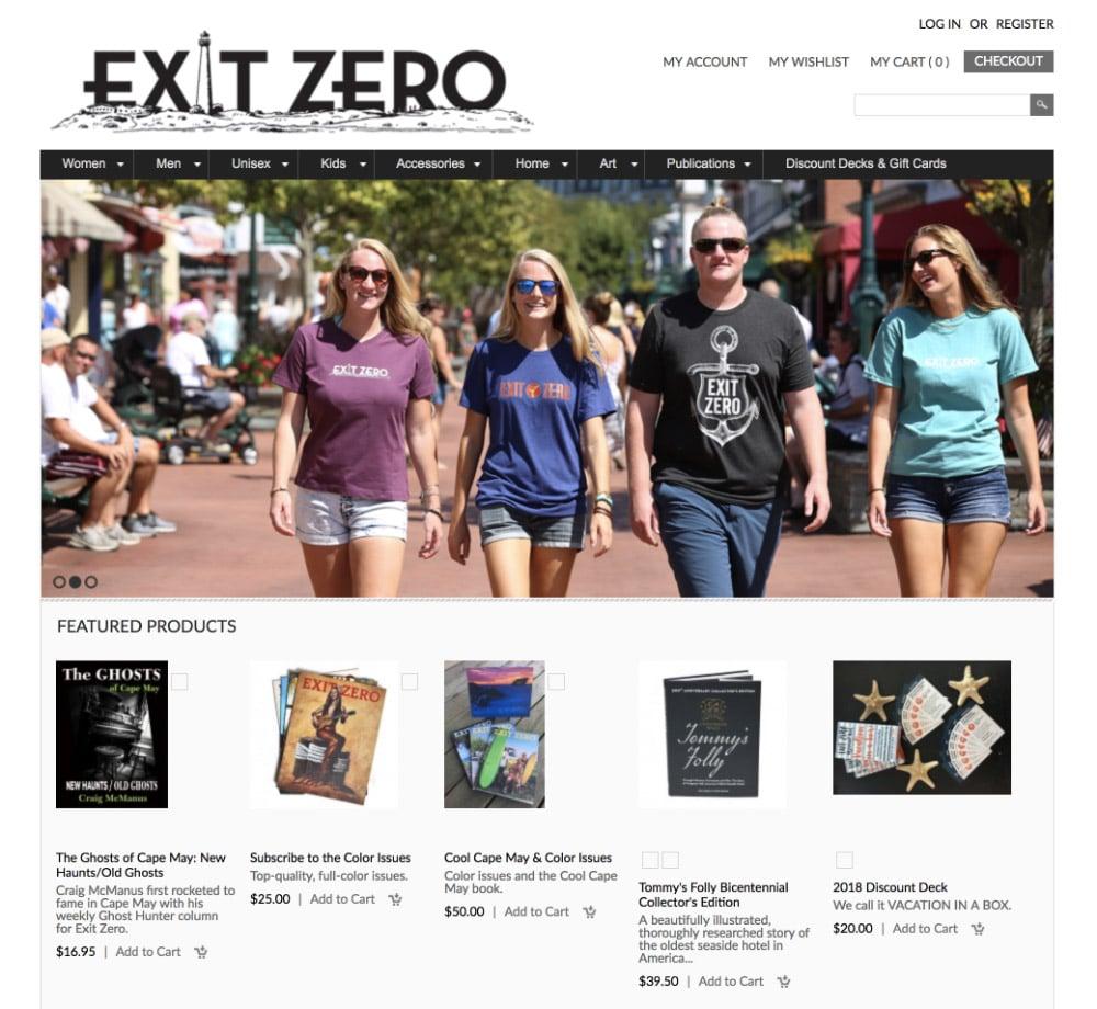 Exit Zero store website