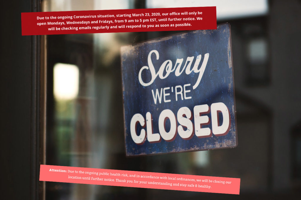 Closed for Coronavirus